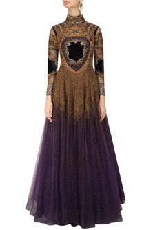Charcoal Grey and Gold Threadwork Armour Louvre Tool Gown by Kartikeya