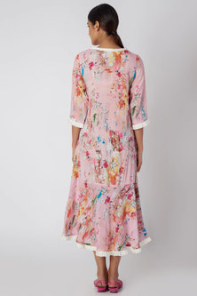 Blush Pink Printed Midi Dress by Linen and Linens