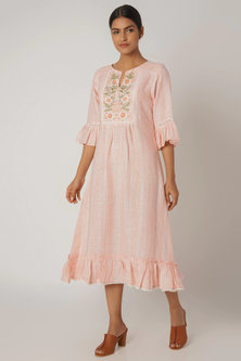 Blush Pink Embroidered & Printed Dress by Linen and Linens