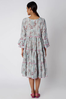 Sky Blue Printed Tiered Dress by Linen and Linens