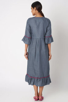 Cobalt Blue Embroidered Dress by Linen and Linens
