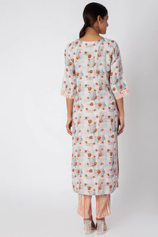 Grey Printed Tunic With Striped Pants by Linen and Linens