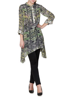 Green & Grey Embroidered Tunic With Marble Digital Print by Limerick By Abirr N' Nanki