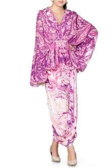 Purple & Ivory Printed Skirt by Limerick By Abirr N' Nanki