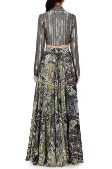 Green & Grey Digital Printed Skirt by Limerick By Abirr N' Nanki