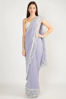 Lavender Embroidered Frill Saree Set by Manish Malhotra