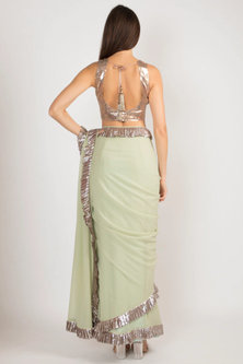 Mint Green Embroidered Saree Set by Manish Malhotra