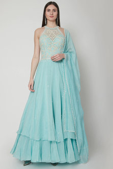 Aqua Blue Embroidered Anarkali Set by Mandira Wirk