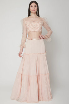 Soft Peach Embroidered Crop Top With Lehenga by Mandira Wirk