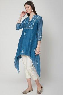 Smokey Blue Embroidered Tunic With Pants by Mandira Wirk