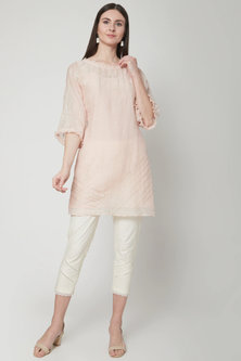 Soft Peach Embroidered Tunic With Pants by Mandira Wirk