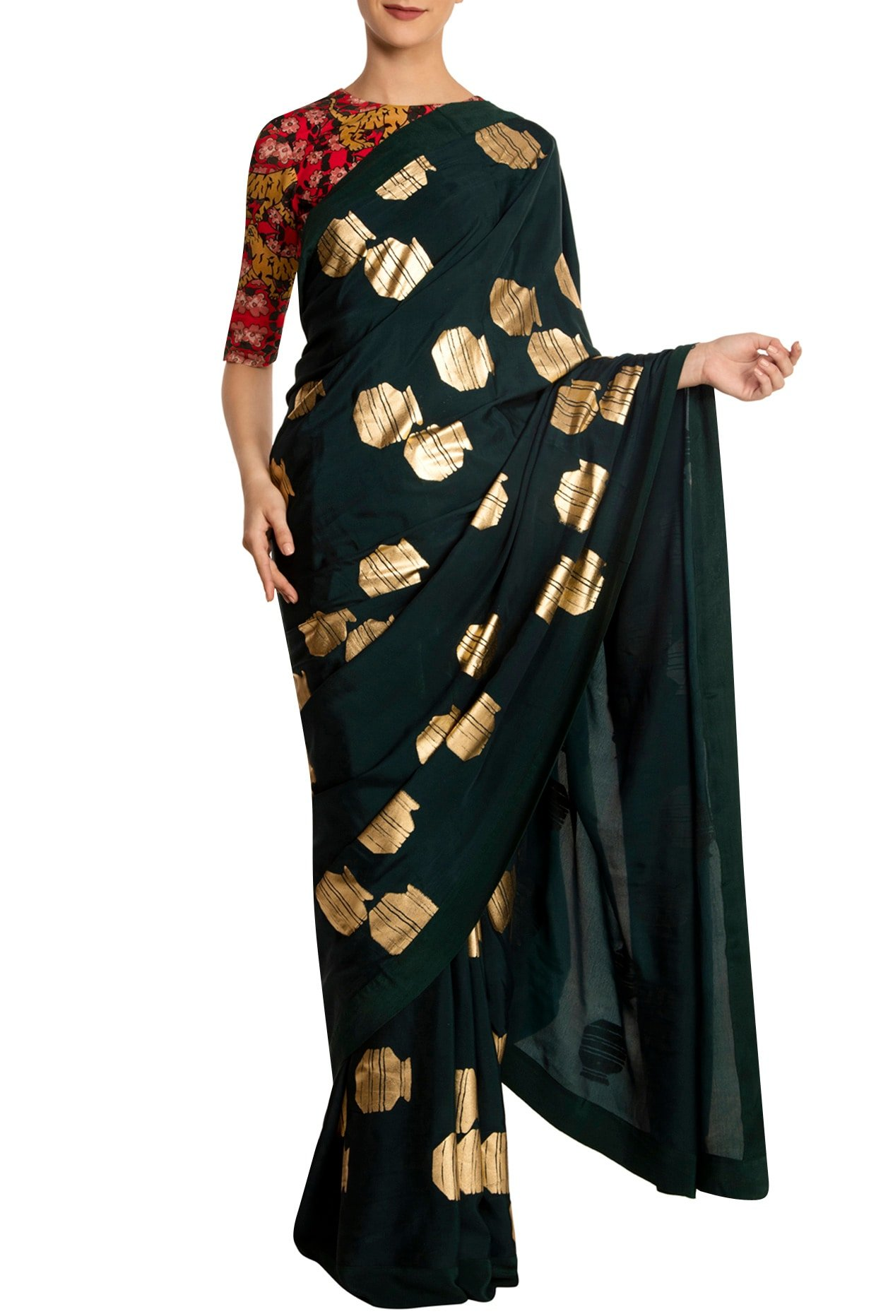 Teal Tribal Vase Print Saree with Red Blouse Piece by Masaba-Handpicked for You