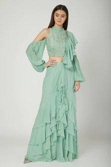 Mint Green Embroidered Pre-Stitched Saree Set by Mani Bhatia