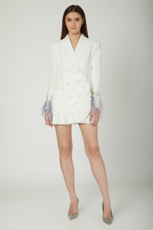 Ivory Modal Crepe Blazer Dress by Mani Bhatia