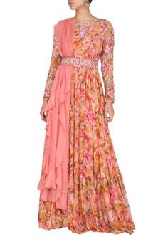 Peach Embroidered Printed Anarkali With Drape & Belt by Mani Bhatia