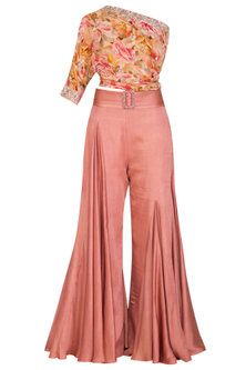 Peach Embroidered Printed Top With Palazzo Pants, Drape & Belt by Mani Bhatia