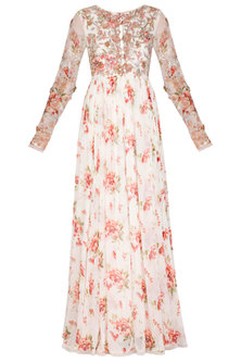White Printed Embroidered Anarkali With Drape & Belt by Mani Bhatia