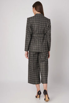 Black Checkered Wide Leg Pants by Meadow
