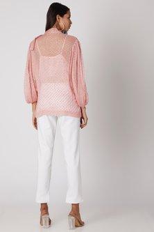 Blush Pink Silk Chiffon Sheer Top by Meadow