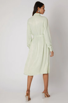 Mint Green Buttoned Dress With Belt by Meadow
