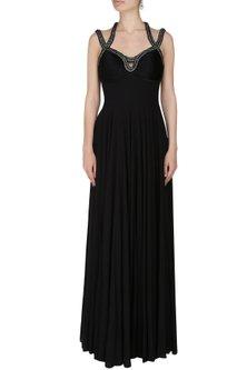 Black Geometric Crystal Back Gown by Manav Gangwani
