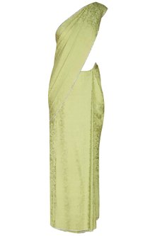 Olive Green Silver Crystal Line Jacquard Saree With Matching Olive Green Blouse by Manav Gangwani
