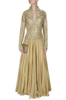 Gold Geometrical Gota Patti Embroidered Jacket by Manav Gangwani