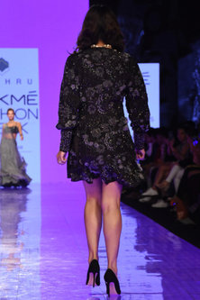 Black Hand Embroidered Wrap Dress by Mishru