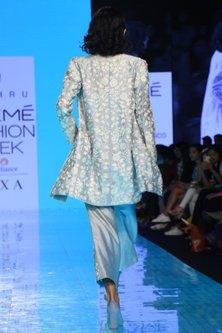 Cloudy Blue Embroidered Blazer Set by Mishru