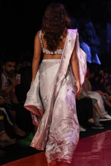 Deep Lavender Embroidered & Marbled Pre-Stitched Saree Set by Mishru