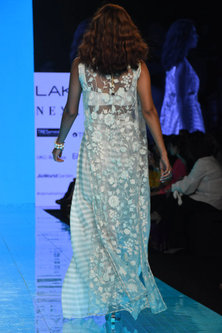 Ivory & Mint Green Embroidered Saree Gown Set by Mishru