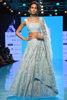 Cloudy Blue 3D Embroidered Lehenga Set by Mishru