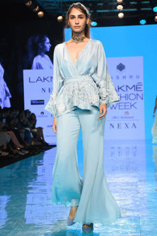 Cloudy Blue Embroidered Kimono & Pant Set by Mishru
