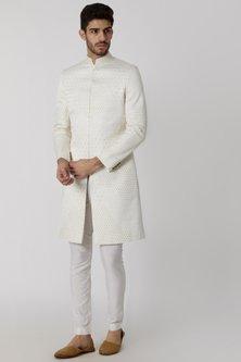 Ivory Viscose Embroidered Sherwani by Mitesh Lodha