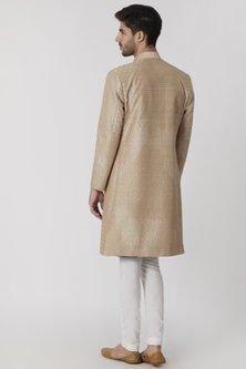 Golden Beige Embroidered Sherwani by Mitesh Lodha