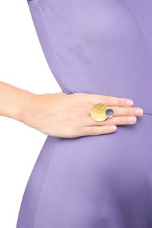Silver and Gold Plated Eclipse Ring by Misho