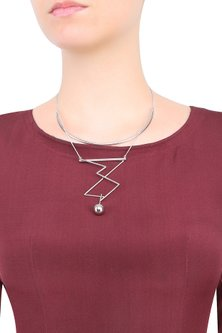 White Gold Plated Trickle Design Necklace by Misho