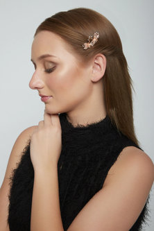 Rose Gold Finish Floral Hairpin by Mirakin