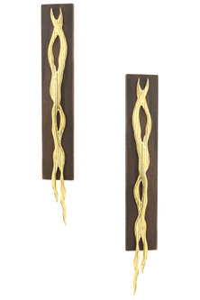 Gold Plated Intertwisted Pattern Earrings by Mirakin