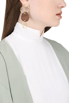 Gold Plated Gold Hoops and Wood Earrings by Mirakin