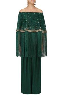 Bottle Green Off-Shoulder Cape and Pants Set by Monika Nidhii