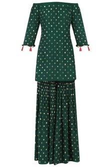 Bottle Green Off-Shoulder Embroidered Kurta and Sharara Set by Monika Nidhii