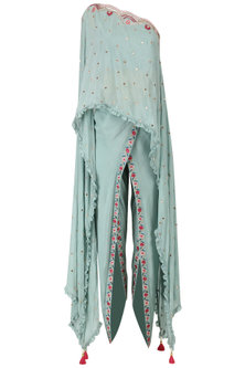 Frost Blue One Shoulder Embroidered Cape with Dhoti Pants Set by Monika Nidhii