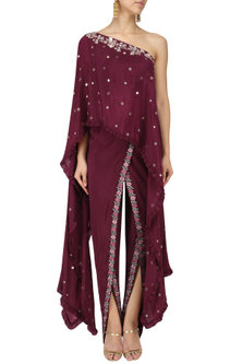 Wine One Shoulder Embroidered Cape with Dhoti Pants Set by Monika Nidhii