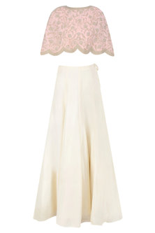 Pink Floral Embroidered Cape and Cream Skirt Set by Malasa
