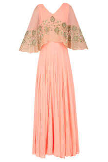 Peach Floral Sequins and Tar Embroidered Cape Anarkali Set by Malasa