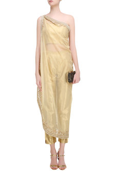 Gold Stones Embrooidered One Shoulder Jacket, Tube and Pants Set by Malasa