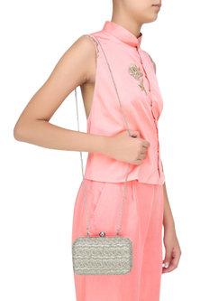 Silver Beads And Cutdana Embroidered Box Clutch by Malasa