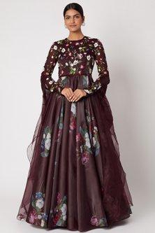Brown Printed & Embellished Anarkali With Dupatta by Mahima Mahajan