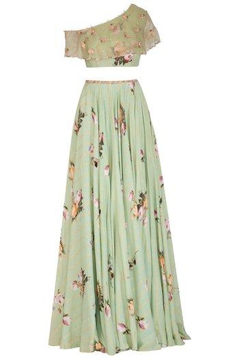 Sage Green Printed Lehenga Skirt With Embellished Blouse by Mahima Mahajan